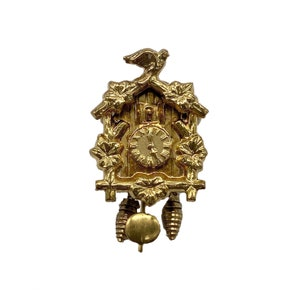 14k Gold Articulated Cuckoo Clock Charm Necklaces Pendants ...