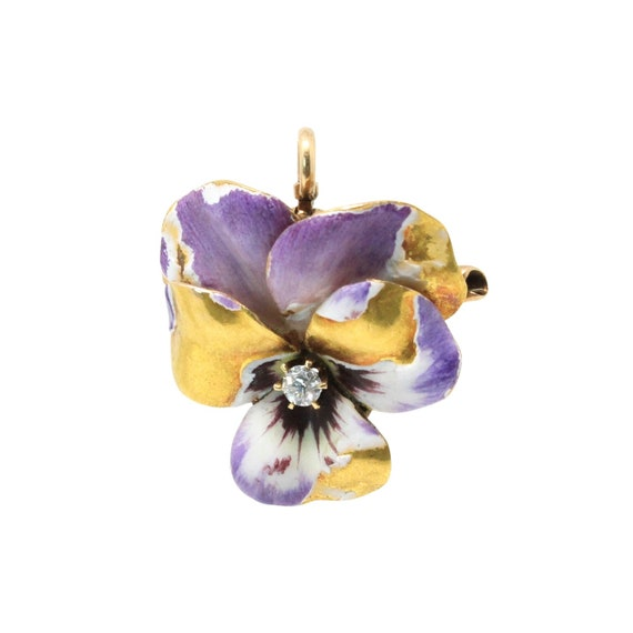 14K Gold Diamond And Enamel Pansy Convertible Pend