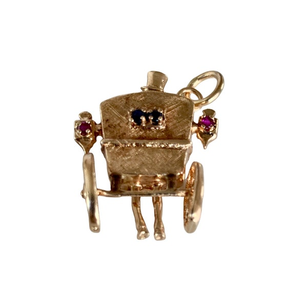 14K Gold Cinderella Carriage Charm