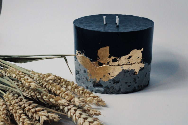 home candle Large black Concrete candle soy wax candle vanilla scent