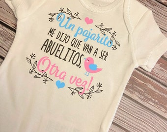 Pregnancy Reveal Onesie Pregnancy Surprise Reveal Un Pajarito Me Dijo Que Van A Ser Abuelos Pregnancy Reveal to Parents