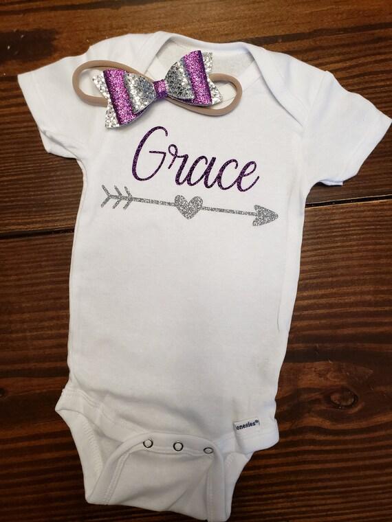 Personalized Name Baby Girl Onesie\u00ae Monogram Custom Onesie\u00ae 316 Baby Boy or Girl Name Onesie\u00ae