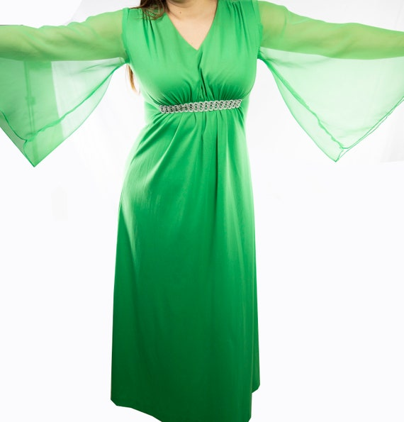 Lime Green 70's Long Dress