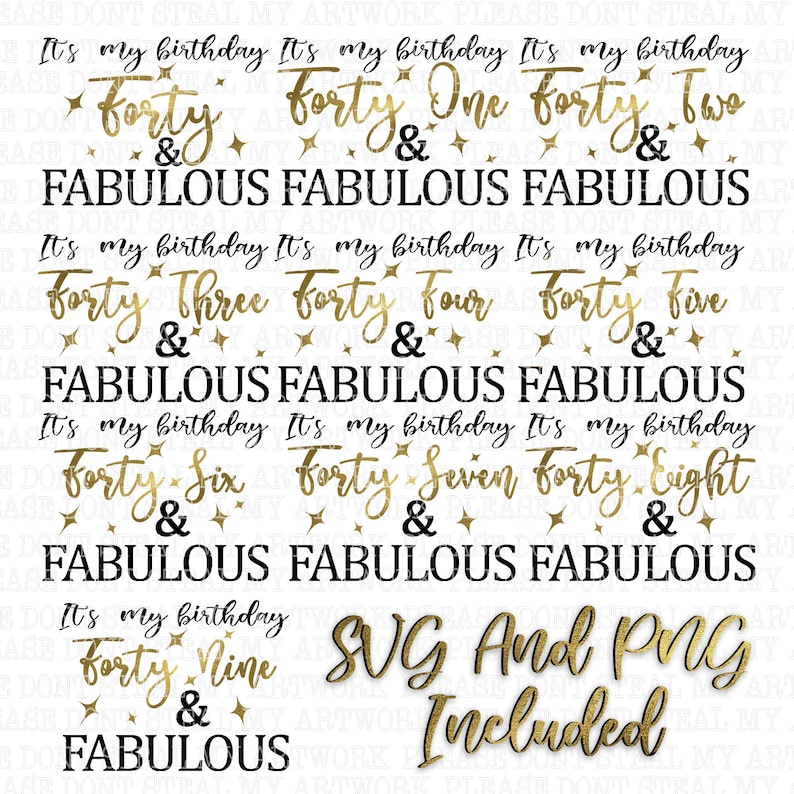 It/'s my birthday Forties and Fabulous Digital File Transparent PNG *BONUS SVG