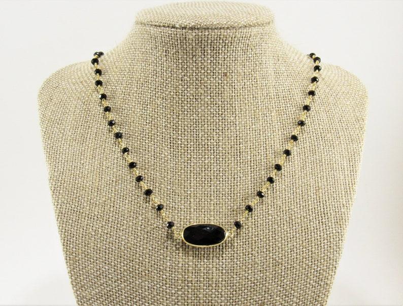 Boho Onyx Pendant Black OnyxCrystal Necklace Gold and Black Necklace Onyx Rosary Chain,
