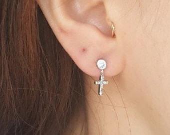 227081fc3 CZ with cross dangle earring#cz cross earring#cz stud dangle cross earring #unusually#unusuallyshop