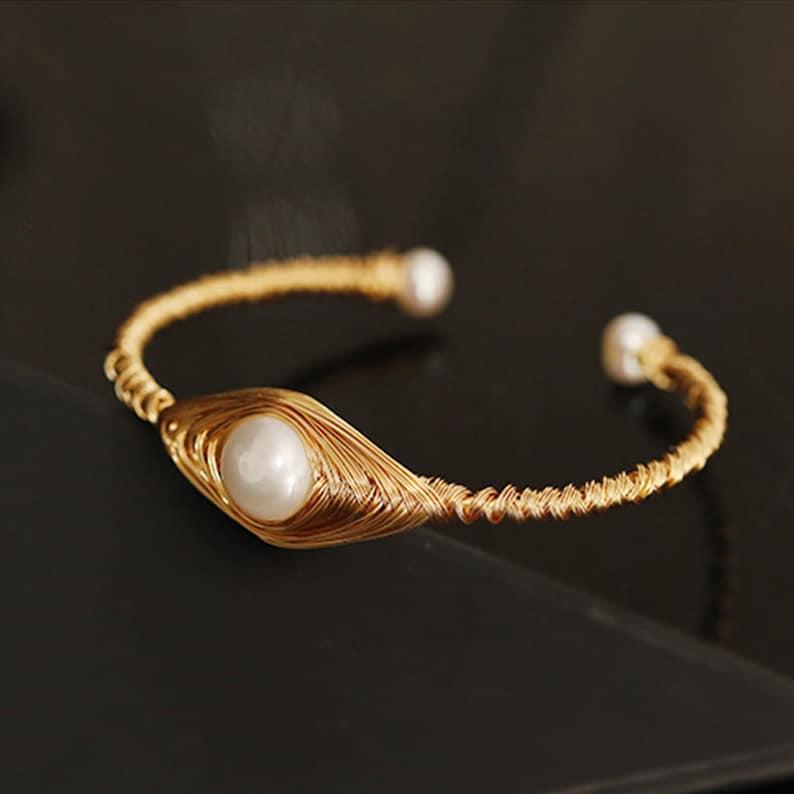 Original Design Handmade Natural Freshwater Pearl Bangle for Women Wedding Gift Fine Jewelry