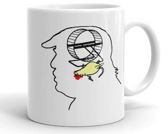 Trump's Brain: Hamster Wanted Mug, anti-Trump mug, political mug, anti Trump mug, protest mug, gift for liberal, Trump is a moron, funny mug