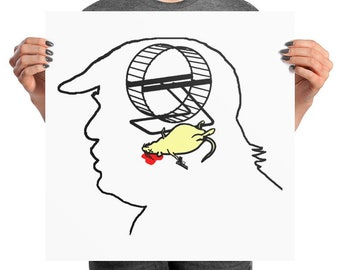 Trump's Brain: Hamster Wanted political poster, gift for liberals, Trump is a moron, dead hamster, anti Trump protest poster