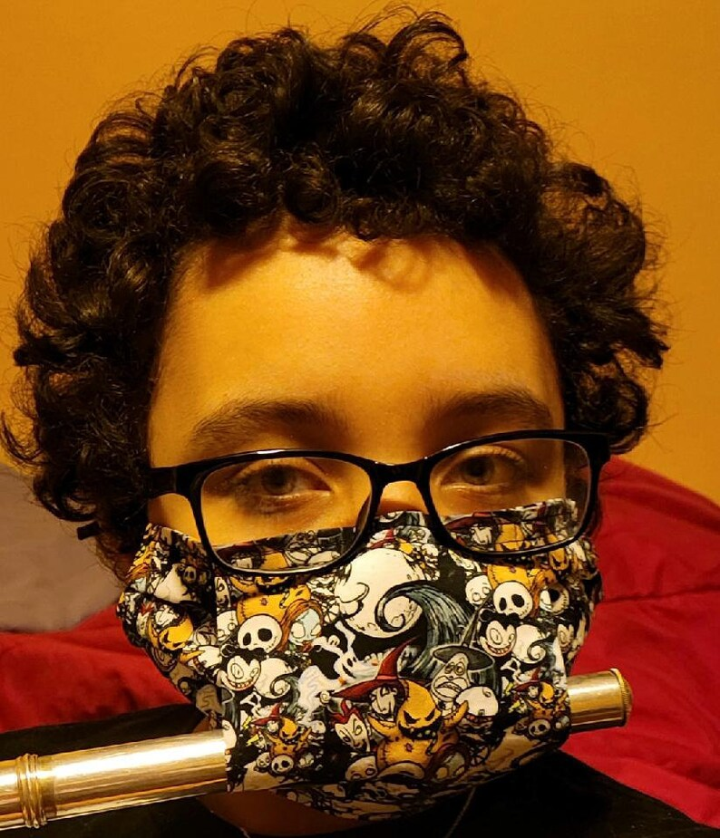 Flute mask face covering musical instrument mask band face image 1