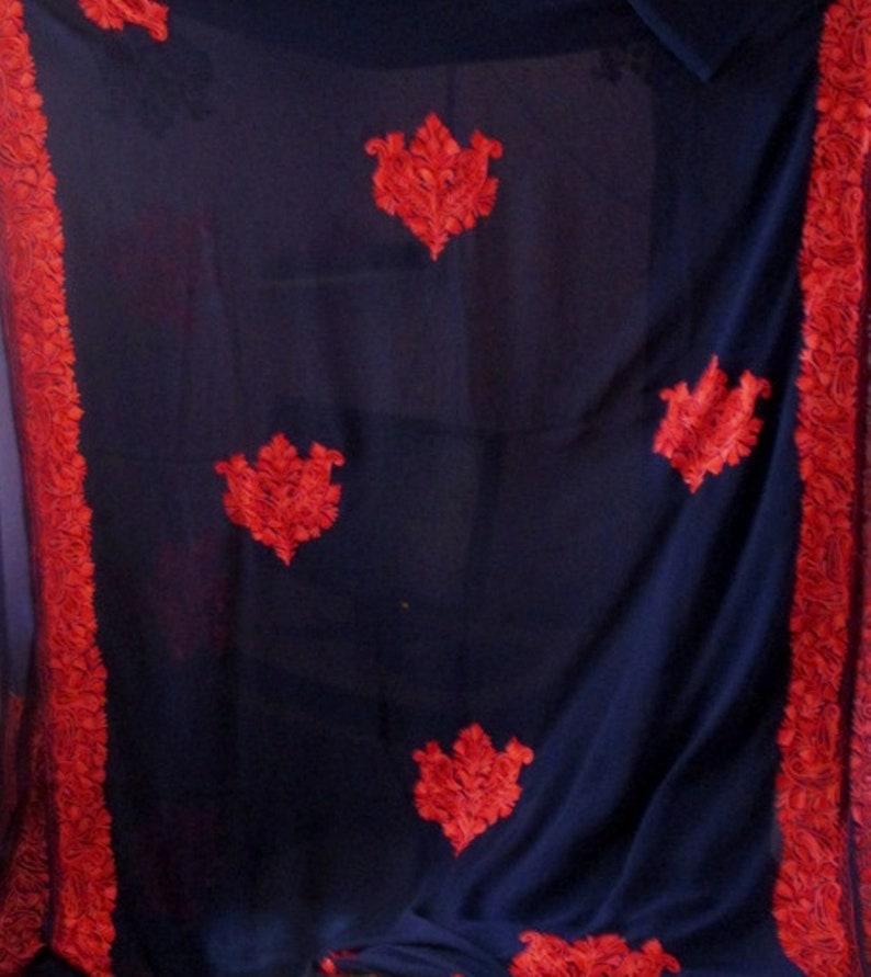 Designer Hand Embroidered  saree Chiffon Georgette sari Kashmiri Ari stitch work saree with blouse piece