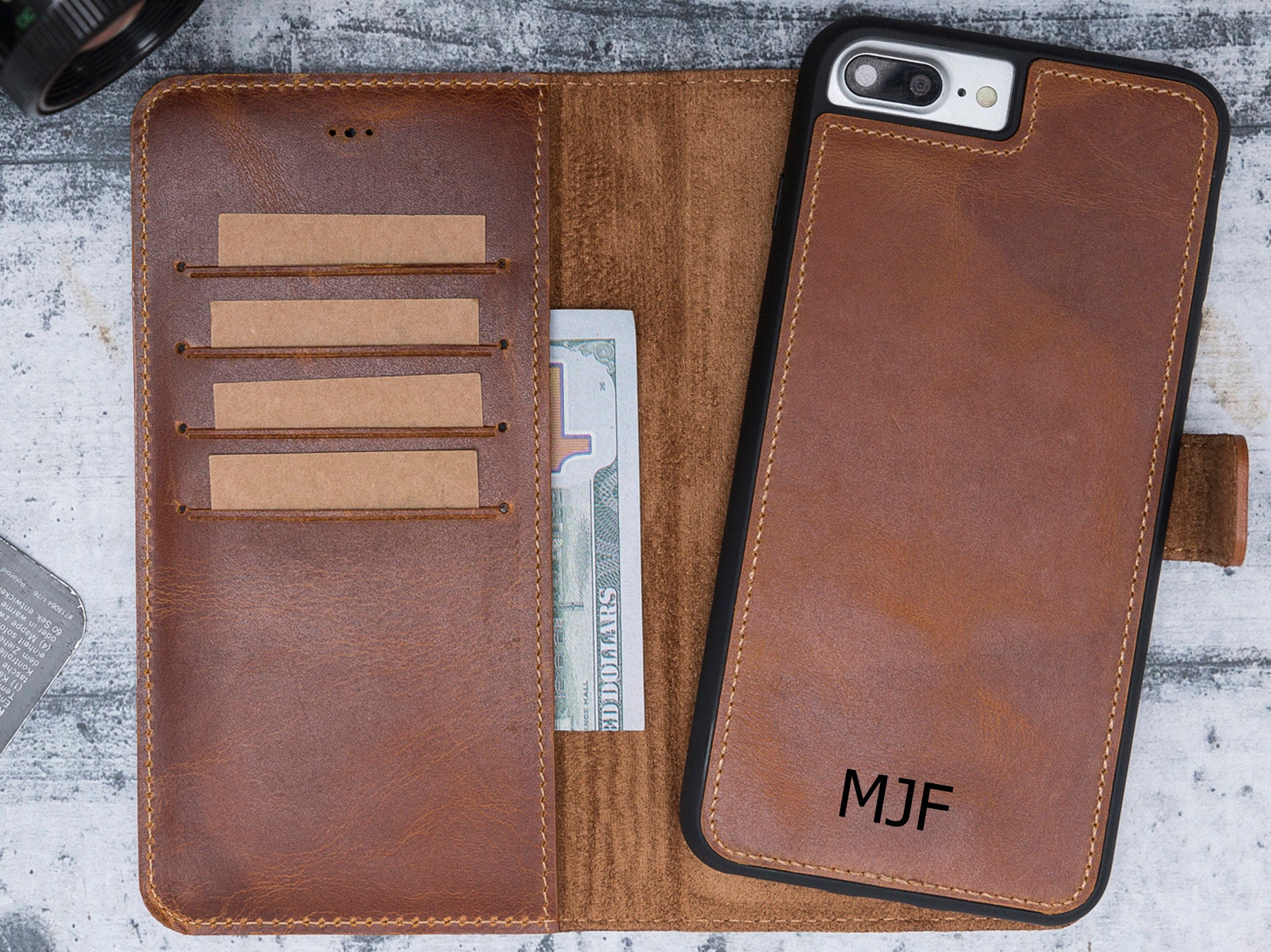 huge selection of 6c6d1 07d25 iPhone 7 Plus Wallet Case, Genuine Leather, iPhone 7 Plus Magic Wallet Case  with Card Holder, iphone 7 Plus Case, Valentines Day