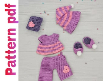 Dolls outfit pattern set of clothes pattern amigurumi   Etsy   270x340