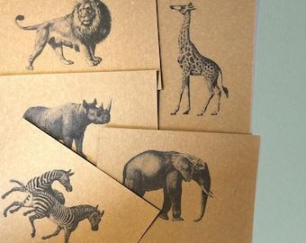 African Animals Note Card Postcards / African Animals Kraft Stationery Set / Safari Animals Writing Set