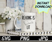 Reading is Lit, teacher SVG, cut file, PNG, JPEG, Teacher shirts, Gifts for teachers, cricut, Instant download, teacher humor, teaching