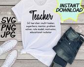 Teacher definition SVG, cut file, PNG, jpeg, Teacher shirt, Gifts for teachers, cricut, silhouette, Instant download, teacher quote, digital