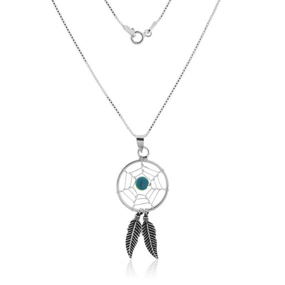925 Sterling Silver and Turquoise Dreamcatcher Pendant Necklace Gift Boxed