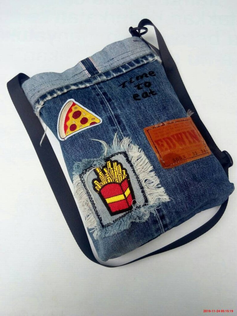 Handmade bag remake from old jeans selvedgeupcycled denim bag