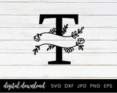 T Monogram Split Alphabet Letter, Split Monogram Cut File, Split Monogram Letters with Hand drawn Botanicals SVG, Home Decor Family Sign