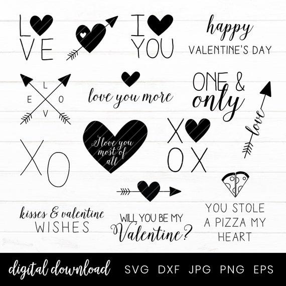 Valentine Svg Bundle Love Hearts Valentines Day Clip Art Etsy
