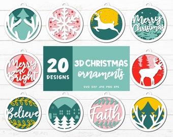 3D Christmas Ornaments Svg, Christmas Svg Bundle, Winter Svg, Reindeer Clipart, Christmas Tree Clipart, Xmas Home Decoration, Paper Ornament