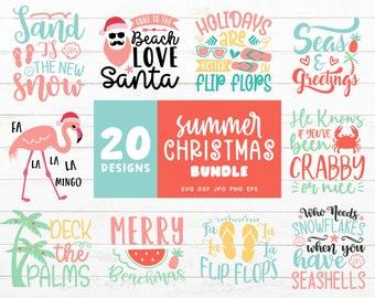 Christmas Svg Bundle, Summer Christmas Craft Bundle for Cricut, Summer Holiday Cut Files for Silhouette, Flamingo Santa Flip Flops Svg