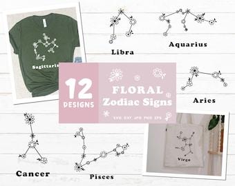 Floral Zodiac Sign Svg, Zodiac Sign Bundle, Astrology Svg, Flower Svg Bundle, Flower Astrology Svg Bundle for Cricut and Silhouette