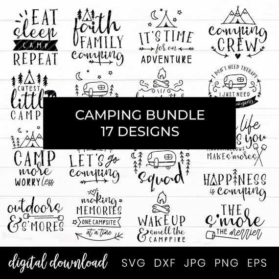 Camping Svg Bundle 20 Svg Camping Designs Campfire Etsy