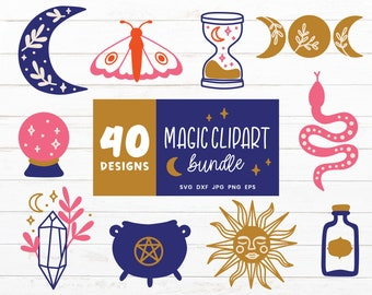 Magic SVG Bundle, Witchcraft Svg files for Cricut, Witch Svg Cut File, MagicClipart Bundles, Home Decoration, Moon Skull Butterfly Clipart