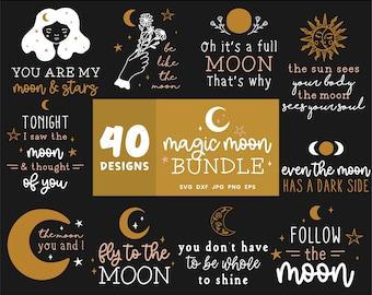 Moon SVG Bundle, Moon Phases Svg files for Cricut, Lunar Svg Cut File, Moon Bundles, Home Decoration, Moon Lunar Clipart