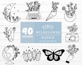 Wildflower SVG Bundle, Flower Svg Bundle, Moon Svg Cut Files, Floral Svg files for Cricut, Lunar Svg Cut File, Moon Lunar Butterfly Clipart