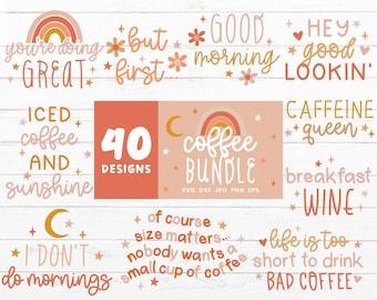 Coffee SVG Bundle, Coffee Mug Svg files for Cricut, Caffeine Svg Cut File, Coffee Quote Bundles, Coffee Cup Design, Moon Star Rainbow SVG