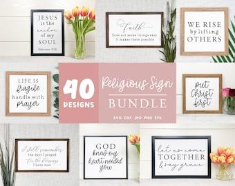 Religious Svg Sign Bundle, Bible Verse Svg Bundle, Christian Svg, Religious Clipart, Bible Quotes Signs, Christian Home Decoration