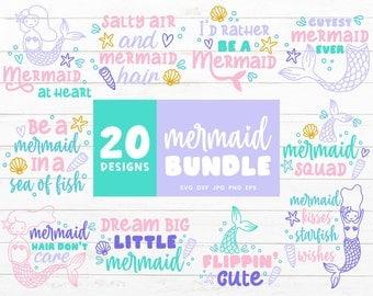 Mermaid SVG Bundle, Mermaid Tail Svg, Beach Svg Cut Files, Summer Svg files for Cricut, Mermaid Party Svg Cut File, Beach Clipart