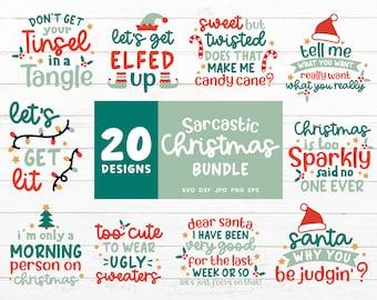 Sarcastic Christmas Svg Bundle, Funny Christmas Shirt Bundle for Cricut, Santa Cut Files for Silhouette,Mistletoe Santa Elf Candy Cane Svg