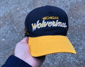53876d9c6415e 90s Sports Specialties Michigan Wolverines Script Snapback