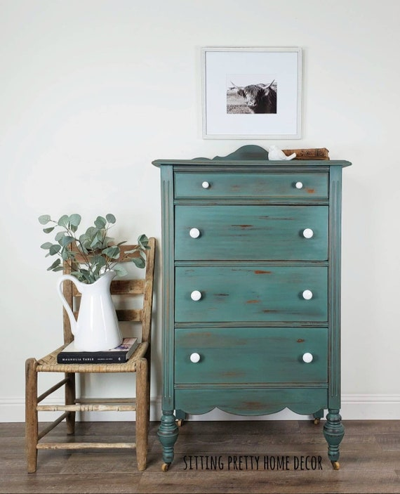 SOLD EXAMPLE ONLY Farmhouse Chest - Distressed Dresser - Blue Green  Jacobean Chest - Chippy Chest of Drawers