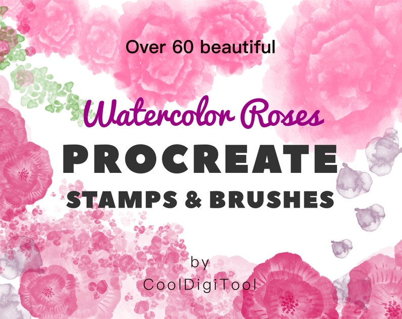 Floral Procreate Brushes: Over 60 Watercolor Procreate Brushes and Stamps  for Creating Beautiful Digital Designs on iPad