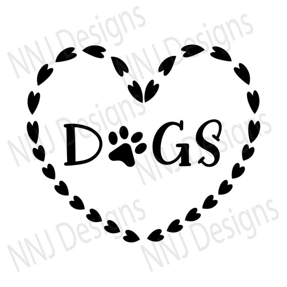 Love Dogs Paw Print Svg Pets Lover Heart Clipart Silhouette Etsy