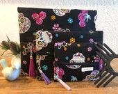 Sugar Skull Makeup Bag, Ready to Ship, makeupandmascara, Makeup Bag, Travel Bag, Jewelry Bag, Toiletry Bag, Cosmetic, Clutch, Black Interior