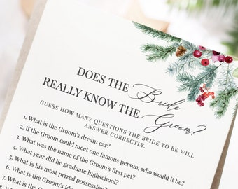 Noella - Does the Bride Really Know the Groom, Bridal Shower Games Printable, Christmas Holiday, Editable Template Instant Download