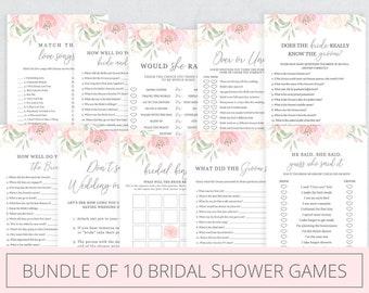 10 Bridal Shower games bundle 10 printable games Bridal Shower activity game printable Wedding shower rustic game Instant download BC1 G101