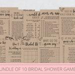 Bridal Shower Games Bundle Bridal Shower Games Printable Rustic Bundle of 10 Instant Download 109-13BGB