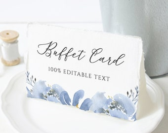 Alya - Buffet Card Template, Dusty Blue Wedding Food Label, Floral Wedding Buffet Labels, 100% Editable, Instant Download