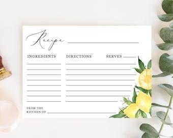 Lyla - Lemon Recipe Card Template, Citrus Bridal Shower Recipe Card Insert, Printable Recipe Card, Instant Download