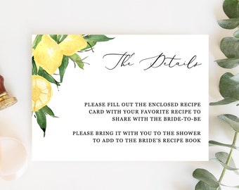 Lyla - Lemon Details Card Template, Citrus Bridal Shower Details Card Insert, Printable Details Card, Instant Download
