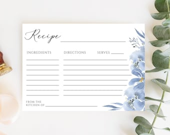 Alya - Dusty Blue Recipe Card Template, Blue Floral Bridal Shower Recipe Card Insert, Printable Recipe Card, Instant Download