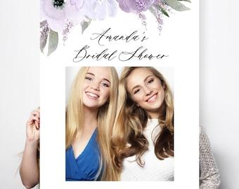 Lillian - Bridal Shower Prop Photo Frame, Wedding Photo Prop, Social Media Frame, Elegant Purple Lavender, Printable Instant Download