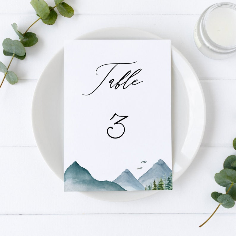 Clara  Mountain Wedding Table Number Template Woodland image 0