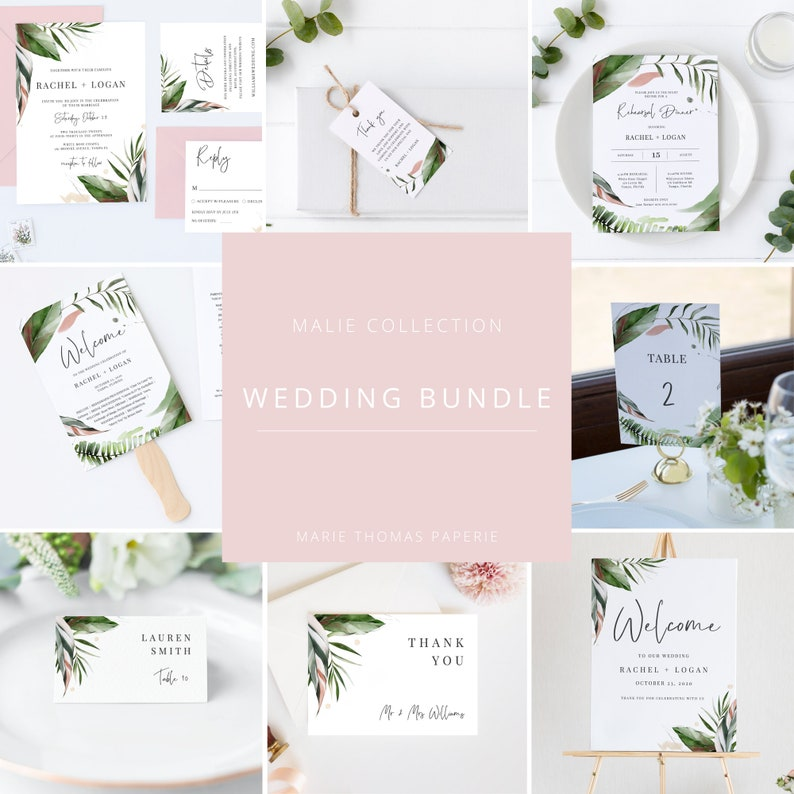 Malie  Elegant Tropical Wedding Template Bundle Wedding image 0